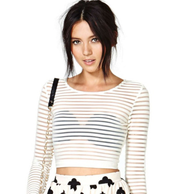 Sheer stripe crop top · nouveau craze · online store powered by storenvy