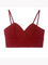 Retro solid color back zip claret crop strap bustier top