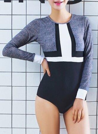 top bodysuit grey white black chic long sleeve color block one-piece women's swimwear long sleeves sexy rosegal-dec