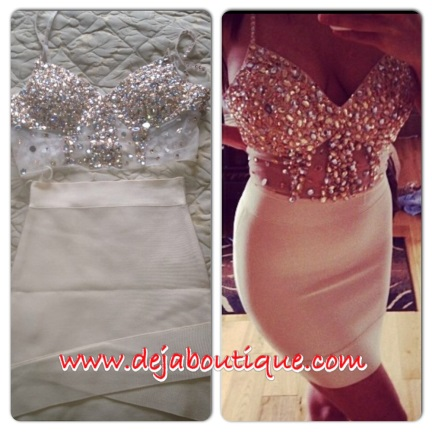 Deja Boutique. Gabriella custom made crystal two piece