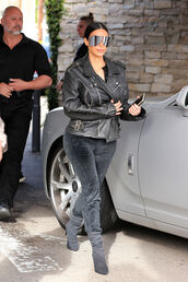 jacket,biker jacket,sunglasses,kim kardashian,boots,pants
