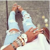 jeans,ripped,blue,denim,jewels,shoes,socks,ripped jeans,skinny jeans,bag,high heels,white,acid wash,cute,light,ripped light jeans,gold bar shoes,sandals,helst gold,pants,Accessory,gold sandals,metal,pumps,heels,open,summer,bracelets,white watch,white washed denim,gold shoes,gold ring,nail polish,holes,light blue,watch,jewelry,holey jeans,blue light wash,stacked bracelets,fall outfits,summer outfits,purse,ring,clothes,light denim,classy,girly,girl jeans,boyfriend jeans,blue skinny jeans,tan gold heels,trashed jeans,summer sandals,nude sandals,light blue jeans,destroyed skinny jeans,destroyed boyfriend jeans,swag