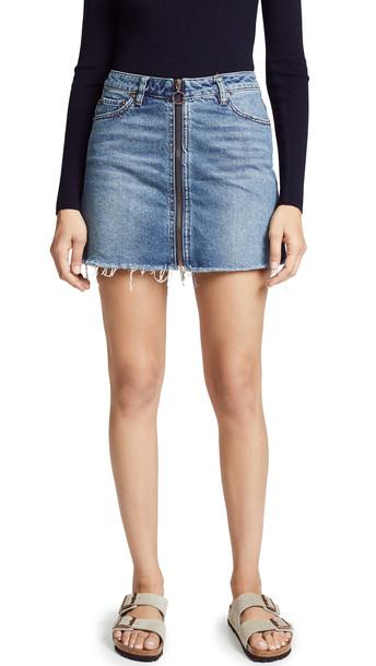miniskirt zip blue skirt