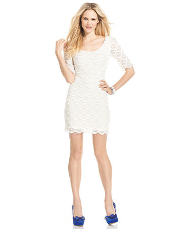 GUESS Short-Sleeve Scalloped Lace Dress - Dresses - Women - Macy's