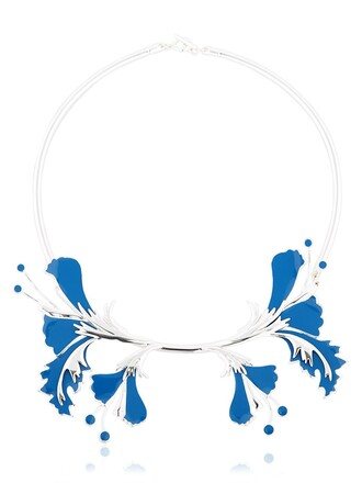 metal necklace silver blue jewels