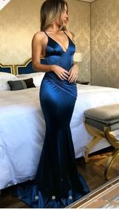 dress,blue,silky,electric blue,formal dress,prom dress,v neck dress,spaghetti strap,maxi dress,backless dress