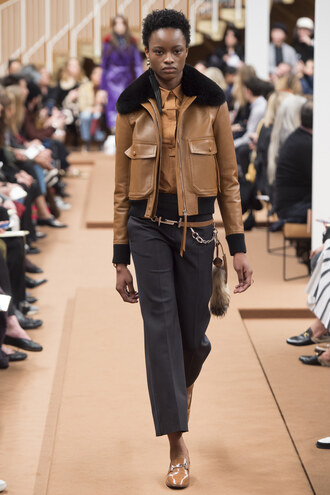 jacket camel pants fall outfits milan fashion week 2016 fashion week 2016 runway tod's pilot jacket