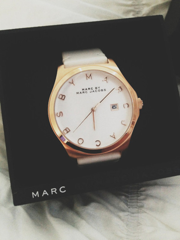 jewels marc jacobs marc by marc jacobs marc jacobs watch white watch gold watch gold watch white and gold watch classic box beautiful watch watch jewelry