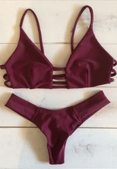 swimwear,bikini,summer,burgundy,spaghetti strap,two-piece,beach,fashion,style,hot,sexy,rose wholesale-ma,rouge bordeaux,red,bikini top,swimwear two piece,bikini trends,bordeaux red wine,bikini burgundy two piece,marron,strappy,sexy bikini,cut-out,burgundy lace bikini,women beachwear,summer holidays,bordeau,top,bottom,bordeau red,stripes,back
