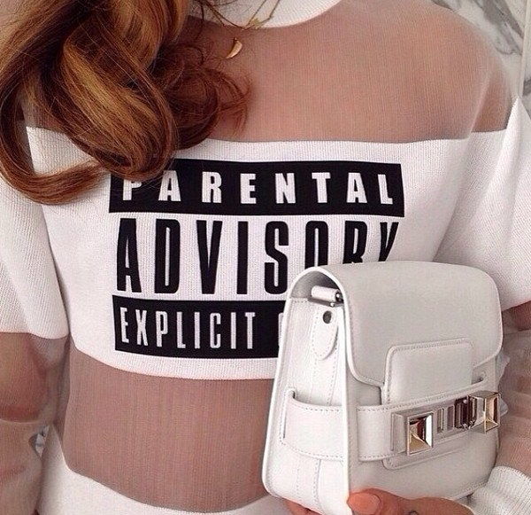 sweater wang parental advisory explicit content shirt bag sweatshirt printed sweater white bag all white everything necklace