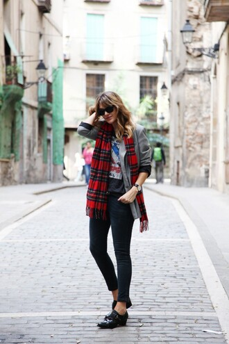 my daily style jacket t-shirt jeans shoes scarf