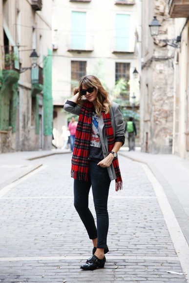 my daily style jacket shoes t-shirt scarf jeans