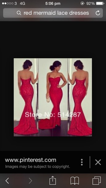 dress red lace mermaid