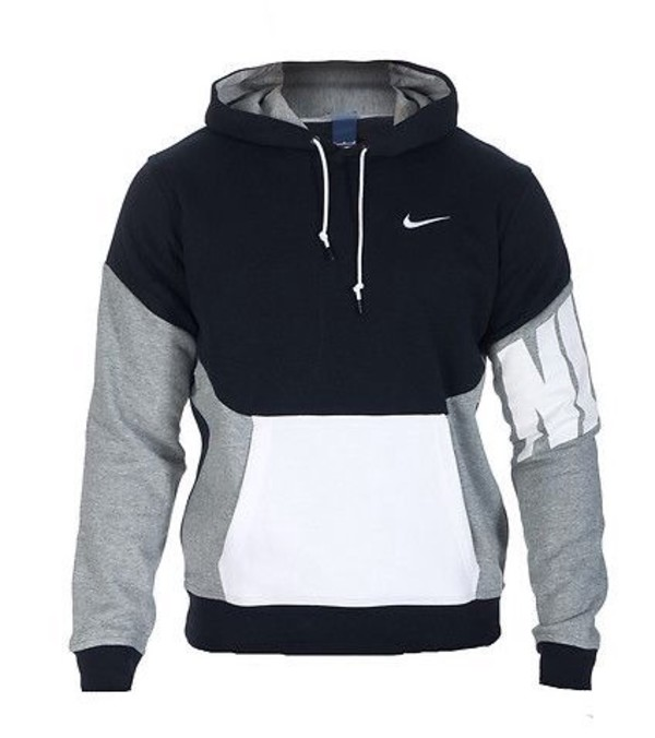 Jacket: nike hoodie black grey white, sweater, black, white ...