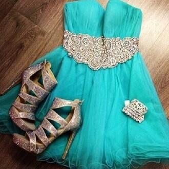 dress blue green dress prom dress cute dress diamonds