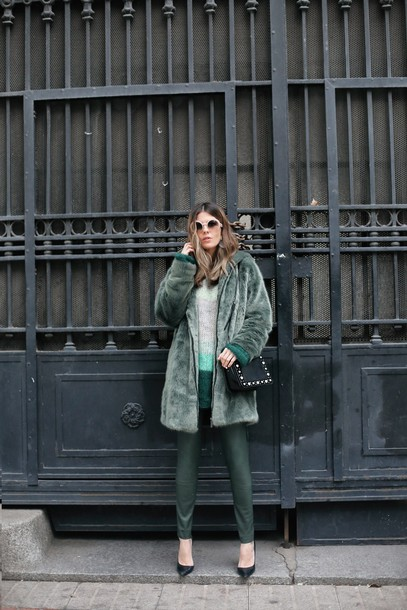 coat tumblr fur coat green coat pants leather pants green pants pumps bag black bag sunglasses