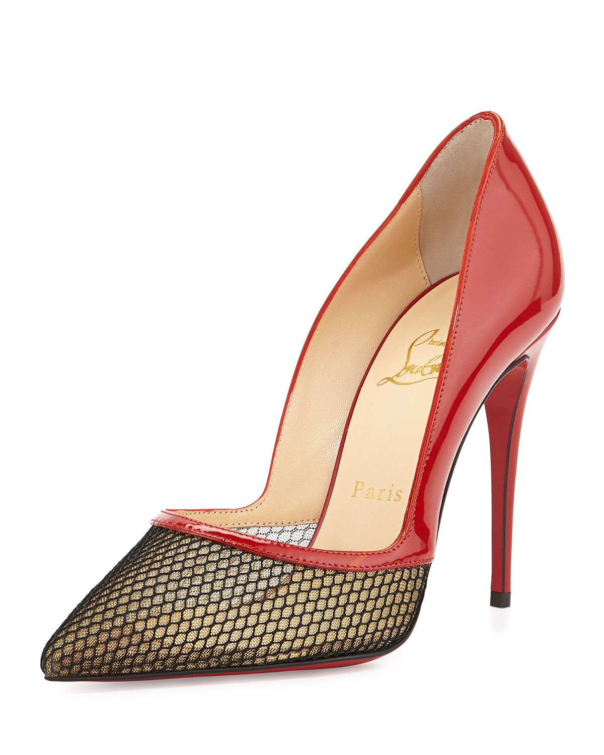 Christian Louboutin Miluna Patent/Fishnet Red Sole Pump, Red