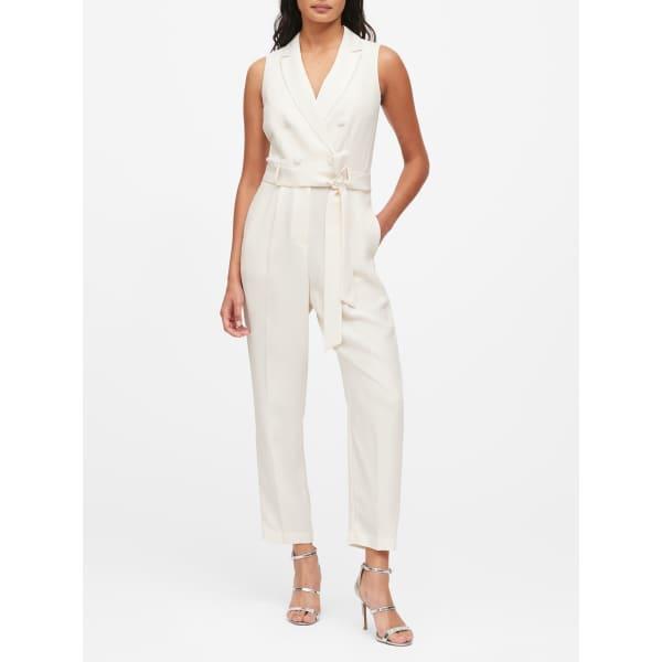 Banana Republic Women's Tuxedo Jumpsuit White Regular Size 4
