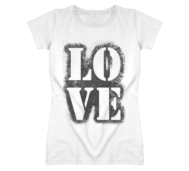 Love Stencil Grunge Vintage Look Graphic T Shirt
