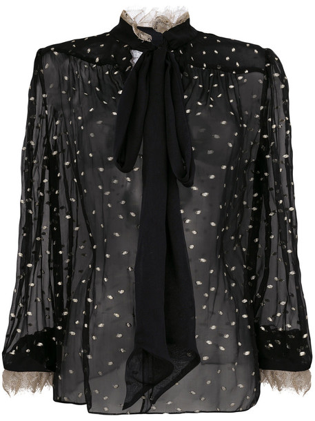 Rodarte blouse sheer blouse bow sheer women black silk top