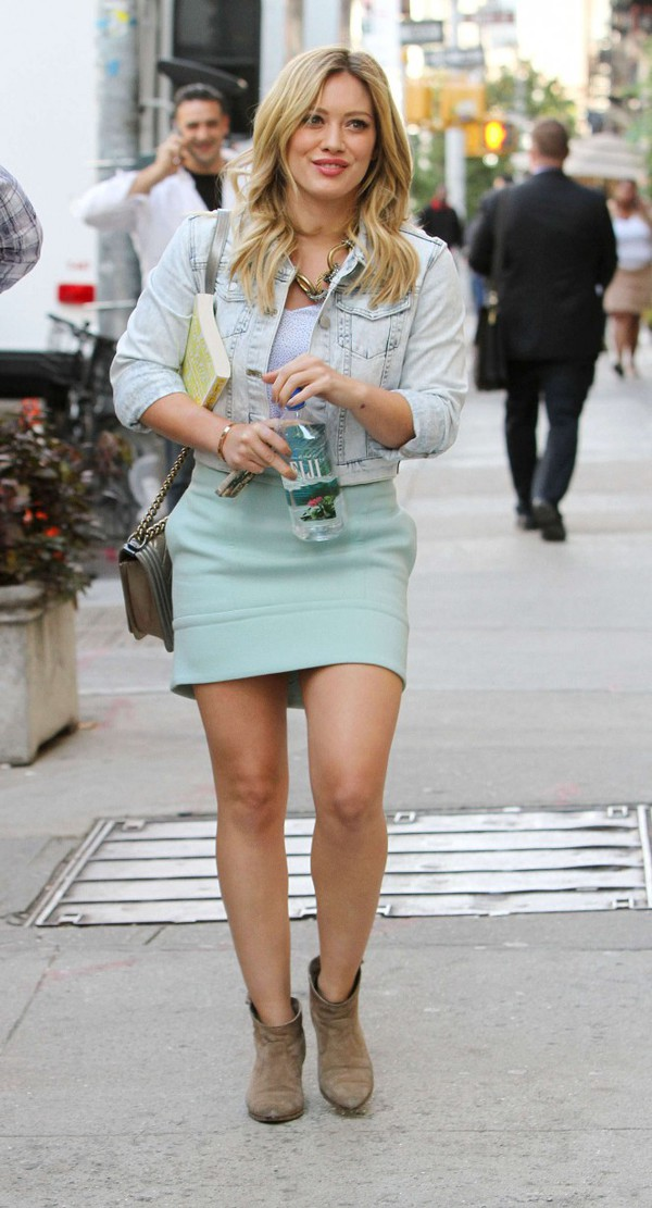 hilary duff skirt jacket shirt bag shoes jewels