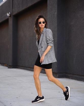 shoes sneakers black sneakers dress blazer grey blazer new balance mini dress black dress