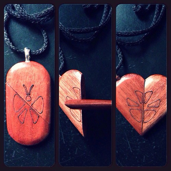 heart necklace butterfly