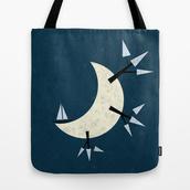 bag,tote bag,fantasy,moon,full moon,ship,society6