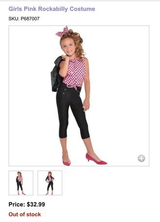 leggings pink shirt polka dots black pants medium heels pink heels jacket
