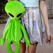 bag,backpack,alien,green,skirt,shirt,top,holographic,mint blue,soft grunge,fluo,multicolor,silver