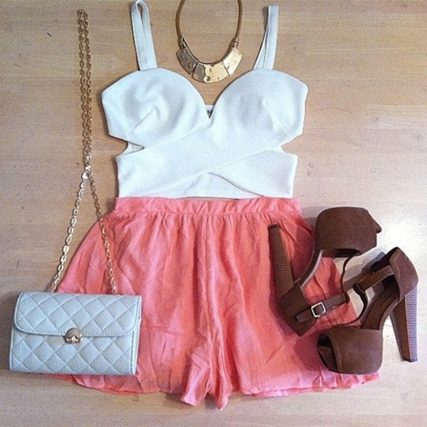 dress bag white pink heels brown jewels tank top white crop tops crop tops cut-out jeffrey campbell cross over top sweetheart neckline summer top shirt shorts shoes skirt top blouse cutout top white top crop classy girl leggings