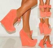 shoes,wedges,cute shoes,cute platforms,cute,ribbon,high heels,coral,bow,peach,salmon