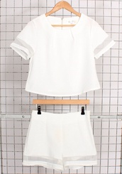 white,sheer,crop tops,blouse,pants,athleisure,shirt,top,shorts,white crop tops,checkered shirt,white shorts,mesh,matching white set,t-shirt,romper,two-piece,co-ordinates,sportswear,clear frames,stripes,classy,outfit,indie,fashion,hipster,summer outfits,tumblr outfit,white 2 piece,jumpsuit