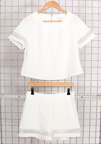 white sheer crop tops blouse pants athleisure shirt top shorts white crop tops checkered shirt white shorts mesh matching white set t-shirt romper two-piece co-ordinates sportswear clear frames stripes classy outfit indie fashion hipster summer outfits tumblr outfit white 2 piece jumpsuit