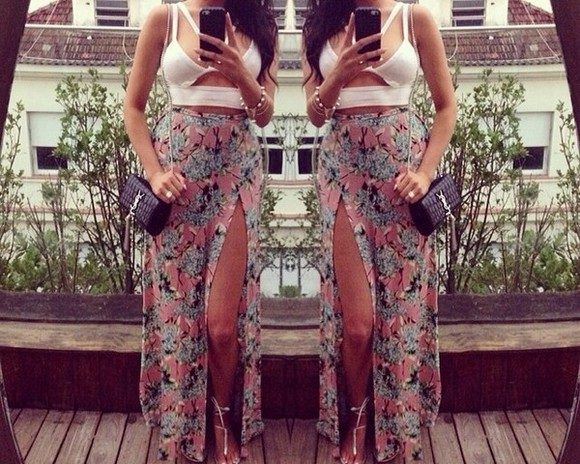 skirt floral floral skirt summer pretty maxi skirt