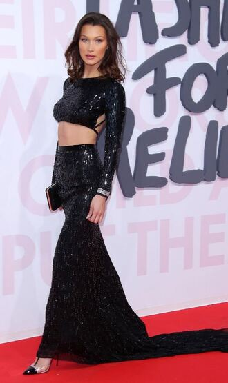 shoes pumps long skirt bella hadid model off-duty crop tops top all black everything backless maxi skirt sequins sequin dress two piece dress set cannes red carpet dress red carpet