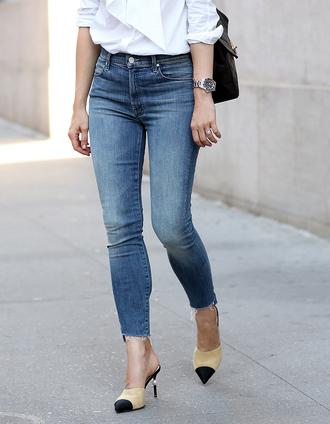 shoes tumblr chanel mules chanel chanel shoes mules nude shoes jeans denim blue jeans cropped jeans
