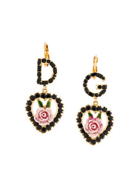 Dolce & Gabbana rose women earrings grey metallic jewels