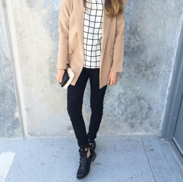 top shirt blouse grid grid top coat skinny jeans ankle boots stylish style style fashion inspo trendy trendy trendy on point clothing blogger tumblr outfit shoes camel coat windowpane pants white black tartan jacket jeans boots