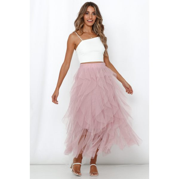 Vision Of Beauty Midi Skirt Pink