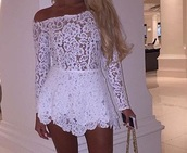dress,white,lace,romper,white lace,long sleeves,long sleeve dress,off the shoulder,off the shoulder dress,lace dress,white lace dress,party dress,sexy party dresses,sexy,sexy dress,party outfits,sexy outfit,summer dress,summer outfits,spring dress,spring outfits,classy dress,elegant dress,cocktail dress,cute dress,girly dress,date outfit,birthday dress,clubwear,club dress,graduation dress,homecoming,homecoming dress,summer holidays,pool party,prom,prom dress,short prom dress,white prom dress,romantic dresss,romantic dress,romantic summer dress