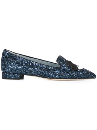 glitter women slippers leather blue shoes