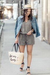 live more beautifully,blogger,romper,jacket,jewels,bag,shoes,hat,basket bag,straw bag,straw hat,wedges,denim jacket