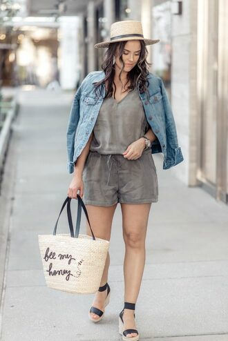 live more beautifully blogger romper jacket jewels bag shoes hat basket bag straw bag straw hat wedges denim jacket
