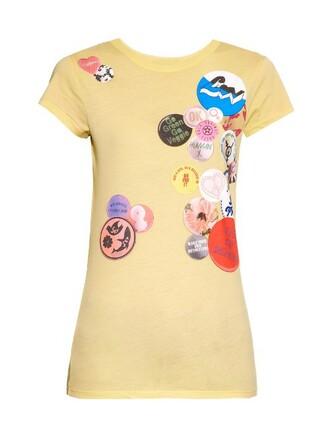t-shirt shirt cotton print yellow top