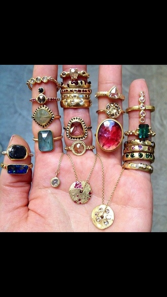 jewels gold rings and tings indie boho black pink blue ring hand nails esotic vintage shiny jewelry necklace bracialets fingers colorful peels foreign ethnic jewellery gold jewelry