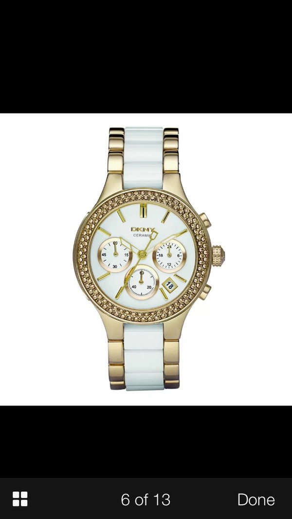 jewels dkny watch gold white