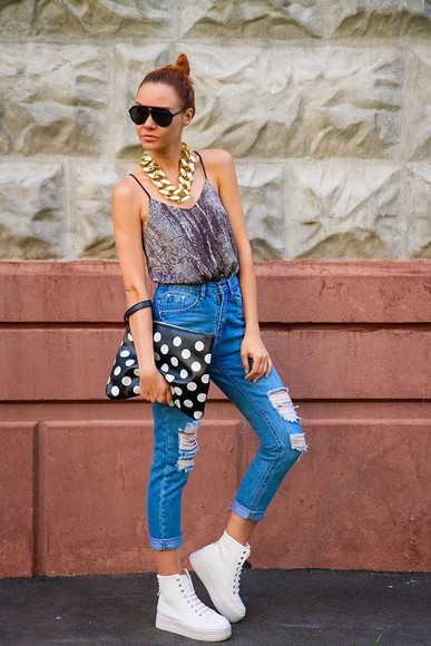 polka dots bag shoes gvozdishe jeans sunglasses jewels platform sneakers flatforms pouch statement necklace tank top ripped jeans