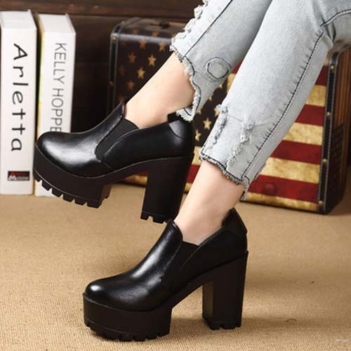 2014 New Platform Ankle Autumn Boots Women PU Leather Wide High Heel Shoes 3 Colors Botas Free Shipping XWX935-in Boots from Shoes on Aliexpress.com | Alibaba Group