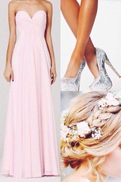 dress pastel silver high heels sparkly